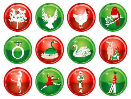 Vector Illustration Card of the 12 days of Christmas buttons. Vector