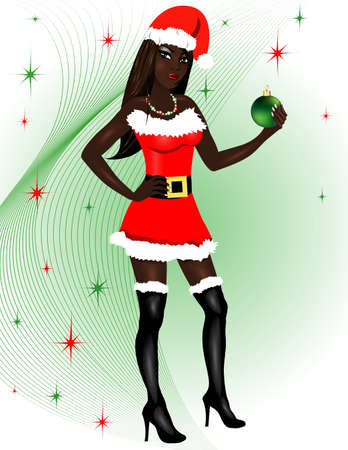 Vector Illustration for Christmas of a dressed up Sexy Santa Costume. Vector