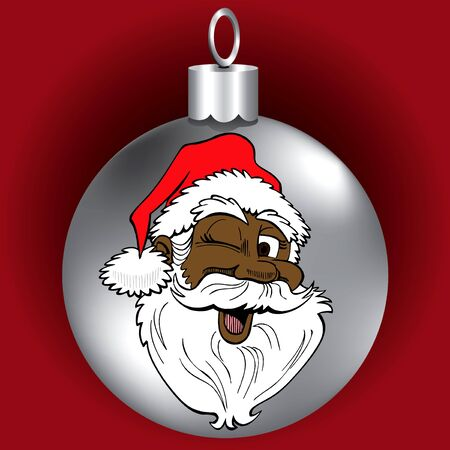 Vector Illustration of Santa Face Ornament.  Vector