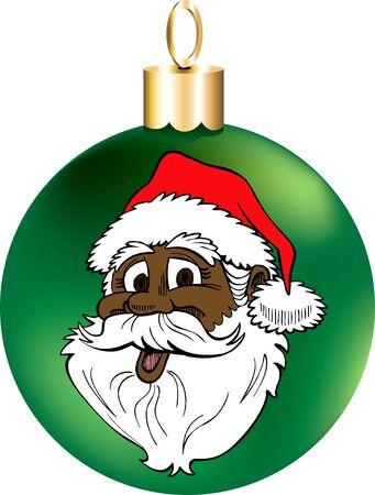 december 25th: Vector Illustration of Santa Face Ornament.