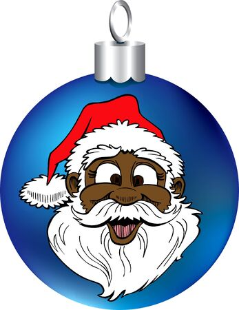 shiny black: Vector Illustration of Santa Face Ornament.
