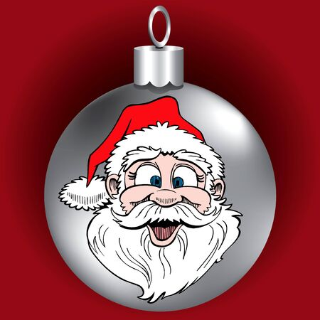 light skin: Vector Illustration of Santa Face Ornament.