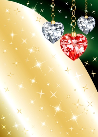 Golden Diamond or Crystal Heart Background with stars. There is space for text or image. Illustration