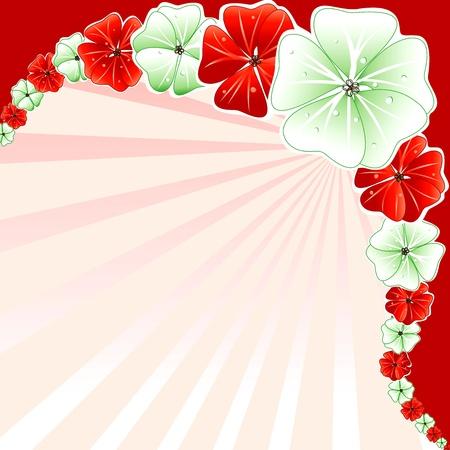 leis: Illustrazioni vettoriali di rosso con sfondo verde floreale. Vettoriali