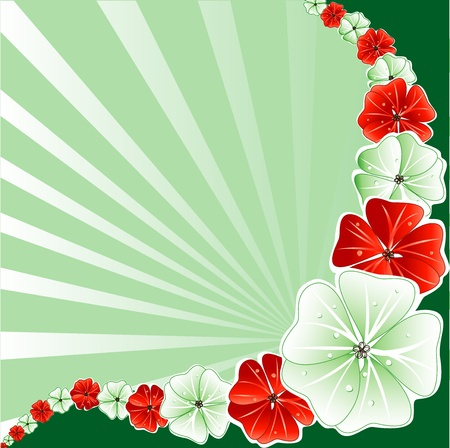 Vector Illustration of Green with Red Floral Background.