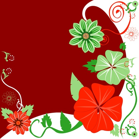 abstract flowers: Vector Illustration of a Christmas background Floral template.