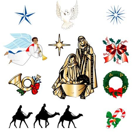 열 크리스마스 또는 휴일 아이콘의 집합입니다. 벡터 일러스트 레이 션. 일러스트