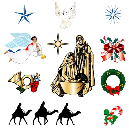 Set of ten Christmas or Holiday Icons. Vector Illustration.