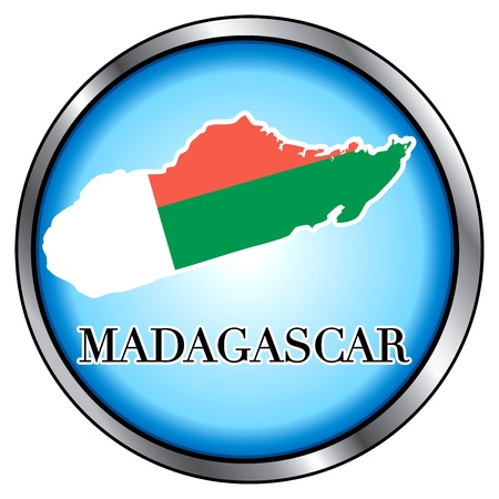 Vector Illustration for Madagascar, Round Button.