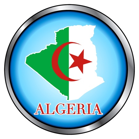 Vector Illustration for Algeria, Round Button. Vector