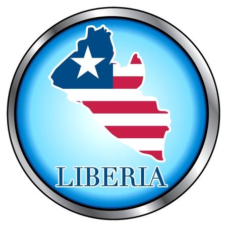 Vector Illustration for Liberia, Round Button. Vector