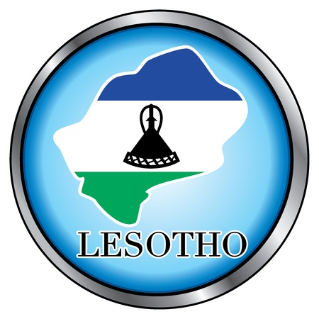 north star: Vector Illustration for Lesotho, Round Button.