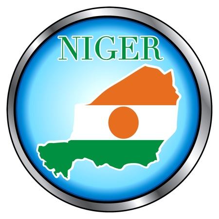 niger: Vector Illustration for Niger, Round Button. Illustration