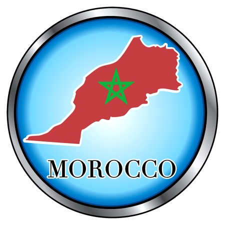 Vector Illustration for Morocco, Round Button.