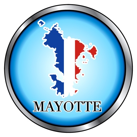 Vector Illustration for Mayotte, Round Button. Çizim