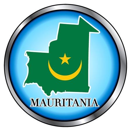 Vector Illustration for Mauritania, Round Button. Vector