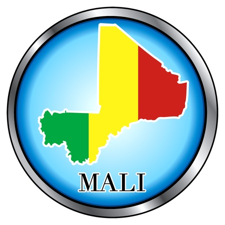 mali: Vector Illustration for Mali, Round Button.