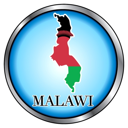 Vector Illustration for Malawi, Round Button. Çizim