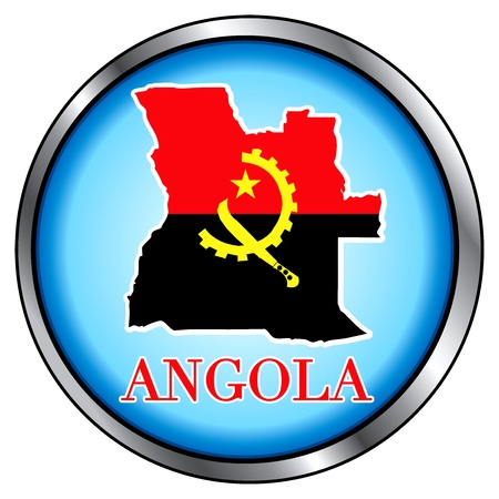 angola: Vector Illustration for Angola, Round Button.