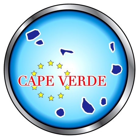 Vector Illustration for Cape Verde, Round Button.