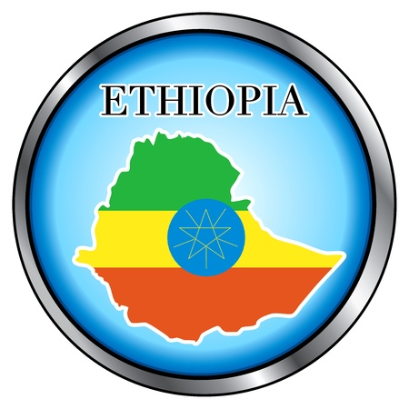 Vector Illustration for the country of Ethiopia Round Button. Vector