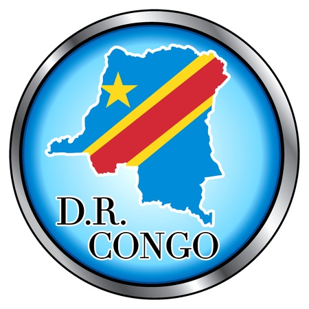 republic of the congo: Vector Illustration for Democratic Republic of Congo, Round Button.