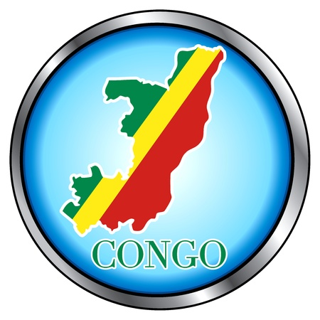 Vector Illustration for Congo, Round Button. Vector