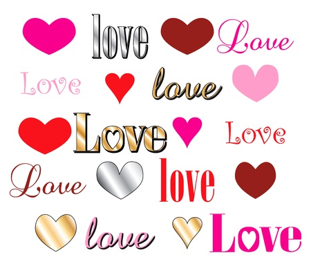 Vector Illustration for Valentines Day. Love Heart Fonts. Stock Vector - 12026003