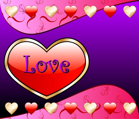 purple heart: Vector Valentine Background with Love Heart. Illustration