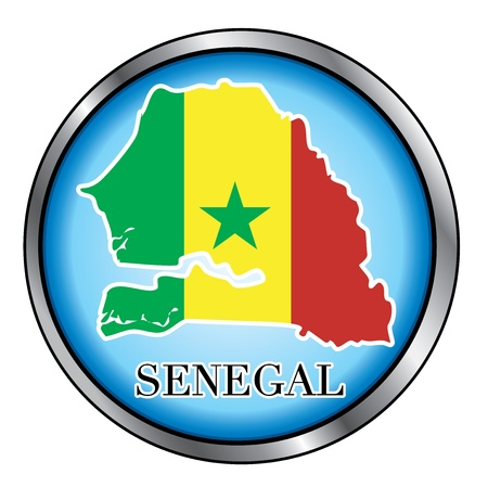 Vector Illustration for the country of Senegal Round Button. Çizim