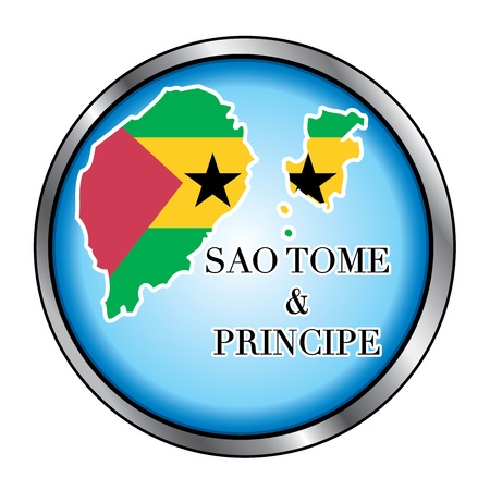 tome: Vector Illustration for the country of Sao Tome and Principe Round Button.