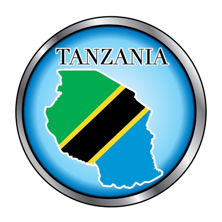 Vector Illustration for the country of Tanzania Round Button. 向量圖像