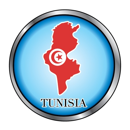 Vector Illustration for the country of Tunisia Round Button. Vector