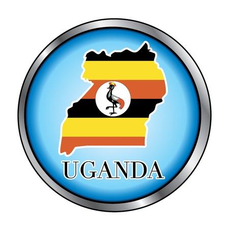 Vector Illustratie voor het land van Uganda Ronde button.