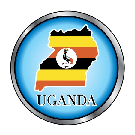 Vector Illustration for the country of Uganda Round Button. Vector