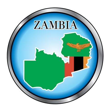 zambia: Vector Illustration for the country of Zambia Round Button.