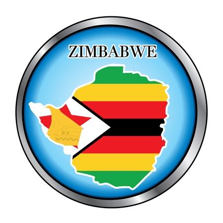 zimbabwe: Ilustración vectorial para el país de Zimbabwe Botón redondo.