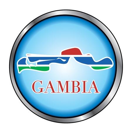Vector Illustratie voor het land van Gambia Ronde button.