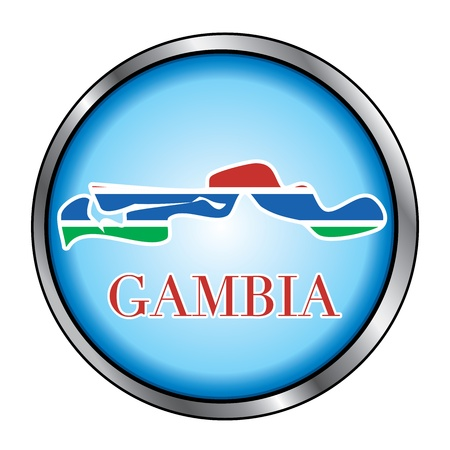 history month: Vector Illustration for the country of Gambia Round Button.