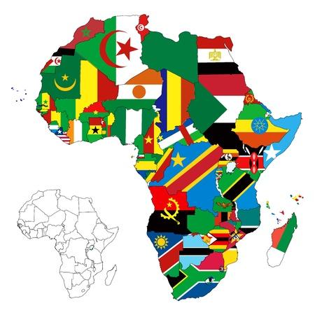 Illustration pour le continent de l'Afrique. Plus de 50 pays, dont plusieurs petites îles, les rivières et les lacs ne sont pas visibles, sauf un zoom avant, très modifiable si nécessaire. Banque d'images - 12198420