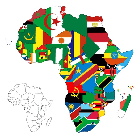 zimbabwe: ilustración para el continente africano. Más de 50 países, entre ellos varias pequeñas islas, ríos y lagos que no son visibles a menos zoom in Muy editable si es necesario.