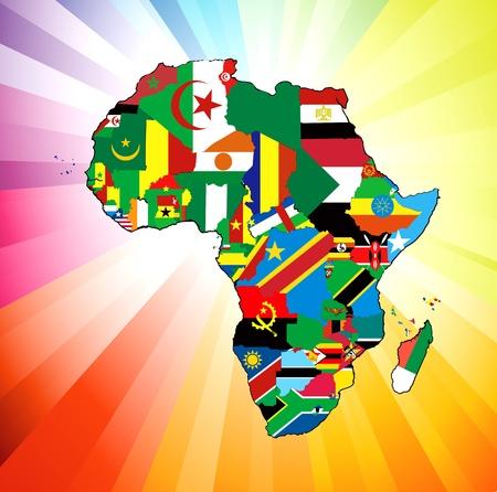 Illustration pour le continent de l'Afrique. Plus de 50 pays, dont plusieurs petites îles, les rivières et les lacs ne sont pas visibles, sauf un zoom avant, très modifiable si nécessaire. Banque d'images - 12198423