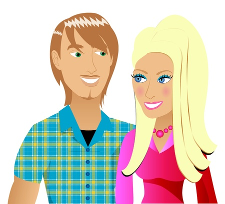 Illustration of a happy couple in love.