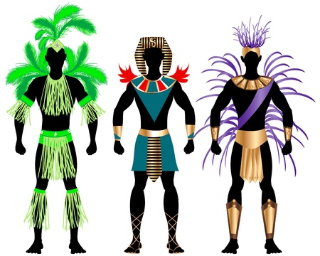zulu: Illustration of three male Costumes for Festival, Mardi Gras, Carnival, Halloween or more. Illustration