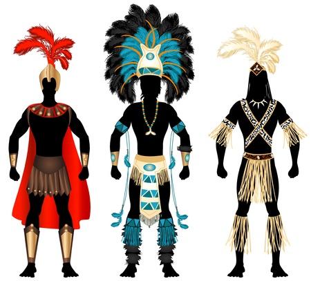 フェスティバルやマルディグラ、カーニバル、ハロウィーンのための 3 つの男性衣装のイラスト。