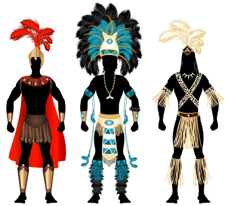 warrior pose: Illustration of three male Costumes for Festival, Mardi Gras, Carnival, Halloween or more. Illustration