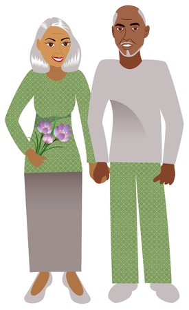 african grey: Illustration of a happy old couple in love. Illustration
