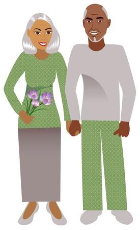 dressy: Ilustraci�n de una pareja feliz de edad en el amor.