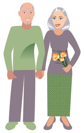 恋に古い、幸せなカップルの Illustrtion。  イラスト・ベクター素材