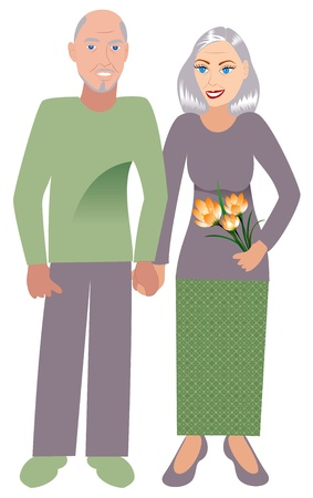 flower age: Illustrtion of an old happy couple in love.